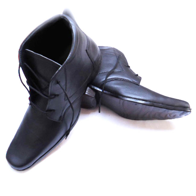 Semi Ankle Leather Elevator Shoes Black Color